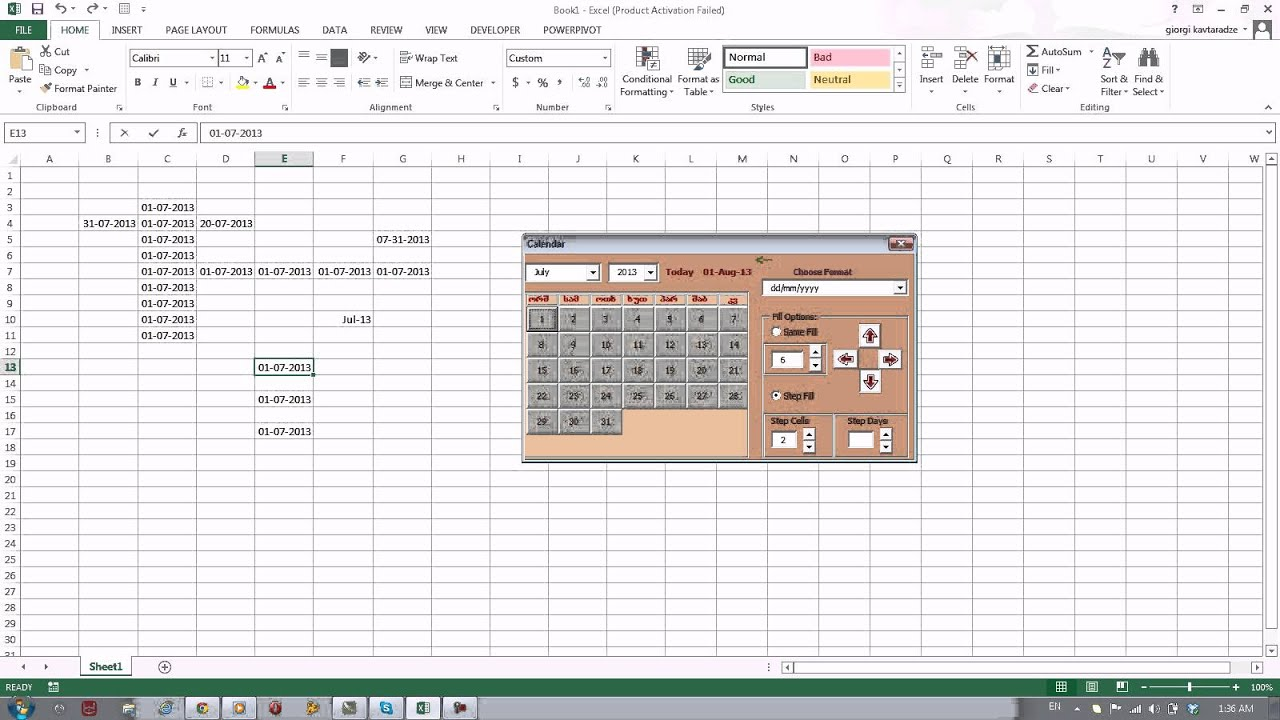 how to add a calendar in excel site youtube.com