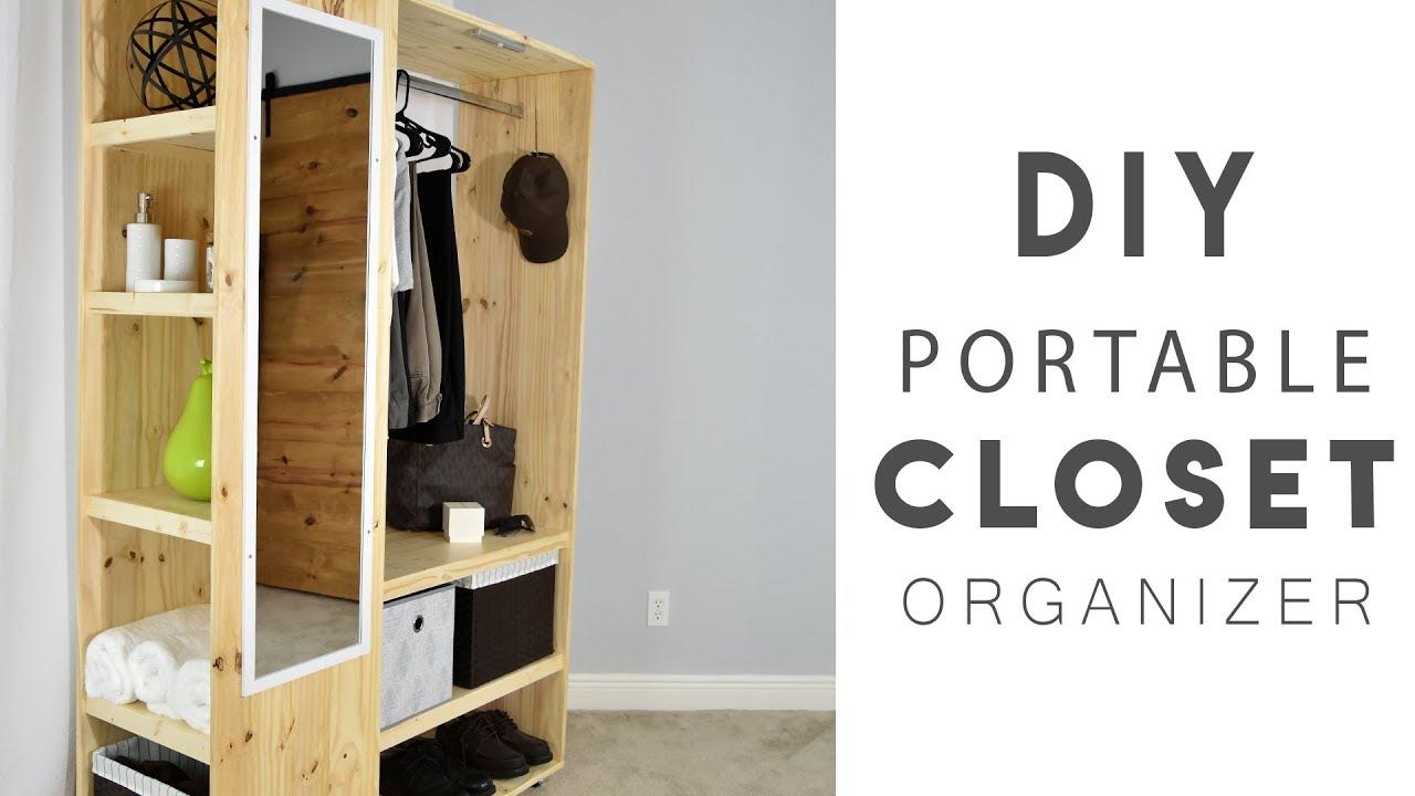 DIY PORTABLE CLOSET Organizer - YouTube on homemade storage, homemade chest, homemade cot, homemade bench, homemade clothes, homemade table, homemade closet, homemade chair, homemade bar, homemade shelf, homemade headboard,