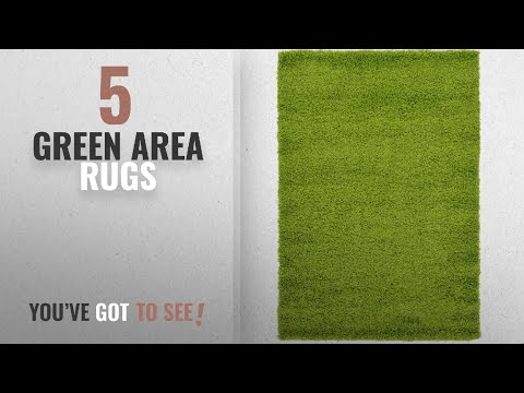 Top 10 Green Area Rugs [2018 ]: Unique Loom Solid Shag Collection Grass Green 4 x 6 Area Rug (4' x