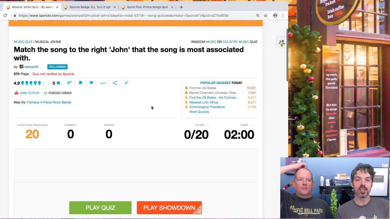 Matt and Derek's Quiz Lab: Song Quizzes