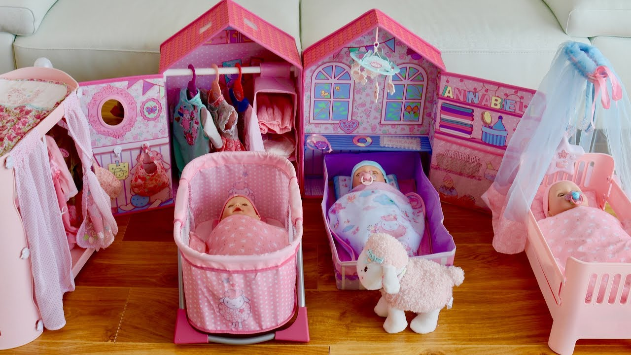 Baby Dolls Travel Cot Unboxing Set Up And Dolls Bedroom