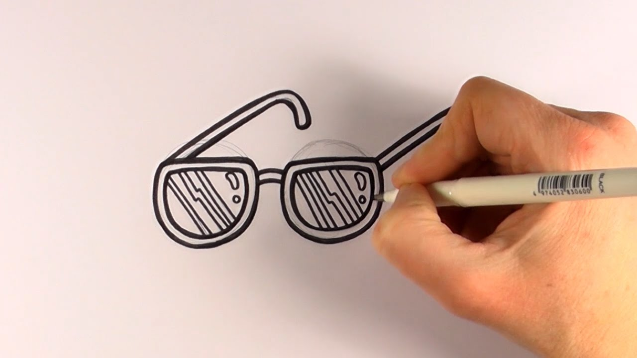 331718f217d5 How to Draw a Cartoon Pair Of Sunglasses - YouTube