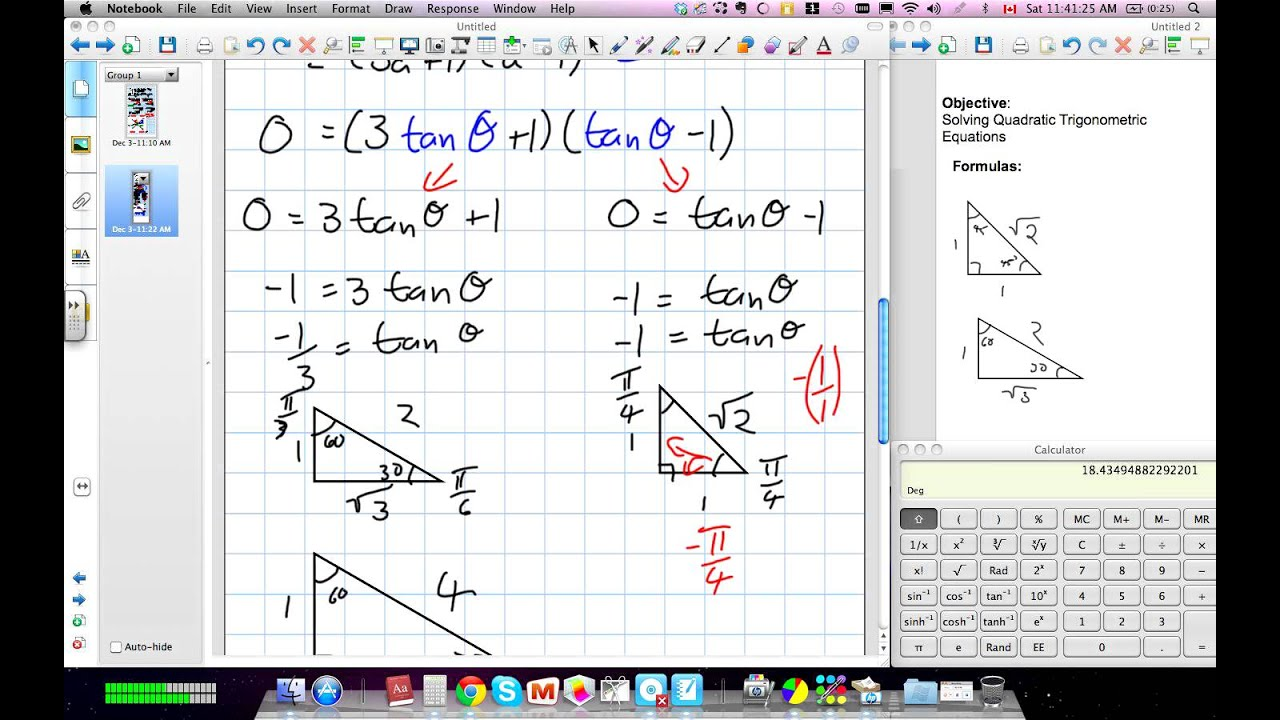 Solving Quadratic Trig Equations (Grade 12 advanced Functions Lesson ...