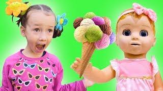 Ulya and Baby Doll pretend play Ice Cream