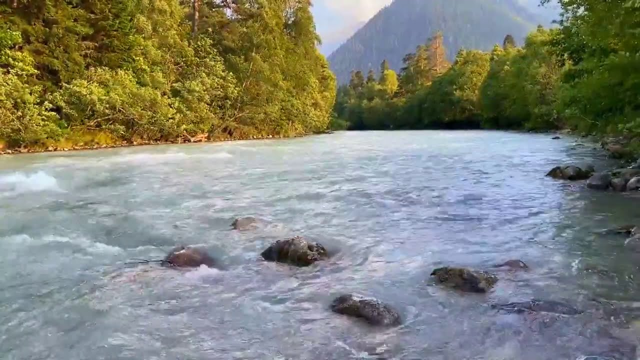 Calming Mountain River (Morning). Relaxing Nature Sounds. (10 hours). White noise for sleeping.