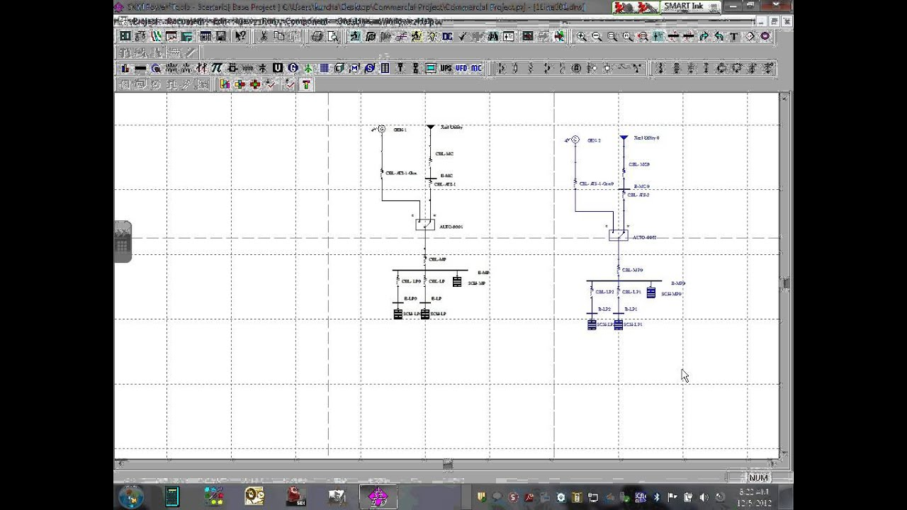 Power System Analysis One Line Diagram, Load flow & Short