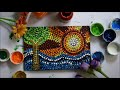 Magic of Dots !! Dot painting on Canvas tutorial ~ Simple and Satisfying #artnam
