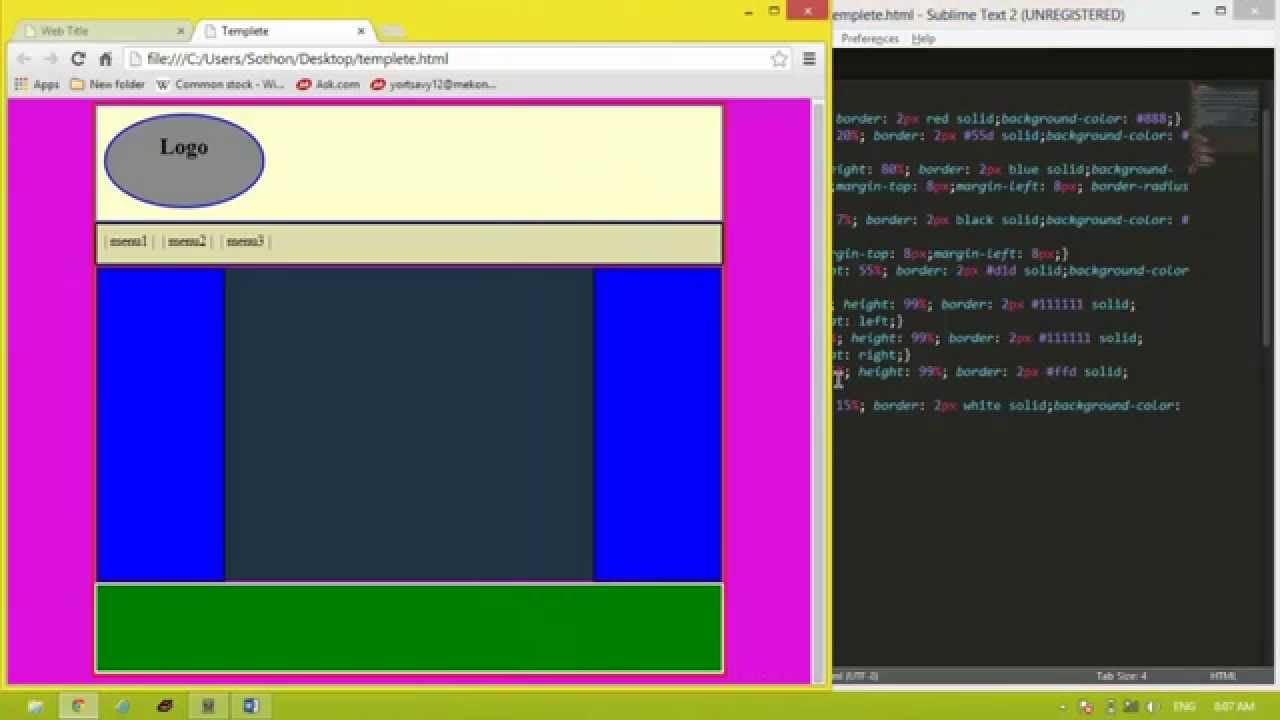 How to create Template website by using code HTML and CSS tutorial ...