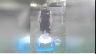 his 10 month old daughter during Ice Bucket Challeng.[RAW]