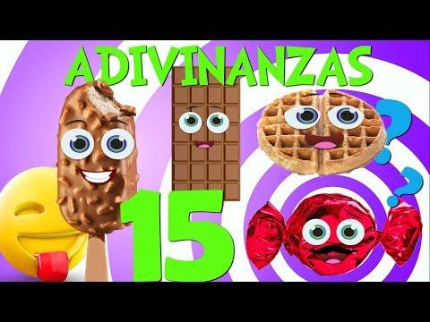 Adivinar Jugando con las 15 Adivinanzas y acertijos de Comidas _ Video para niños