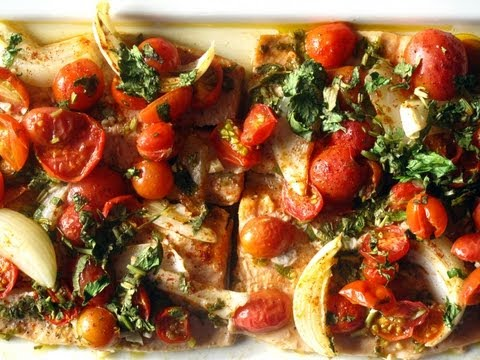 How to make baked fish tomatoes youtube for How to make baked fish
