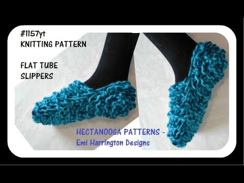 Free Knitting Pattern Easy Beginner Slippers Flat Tube Method