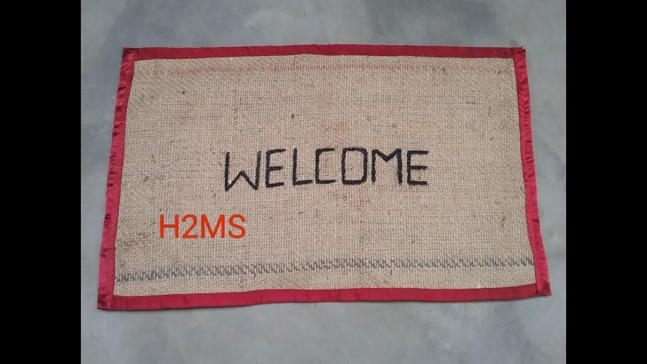 How To Make Simple Doormat Diy Welcome Mat Rug Burlap Doormat