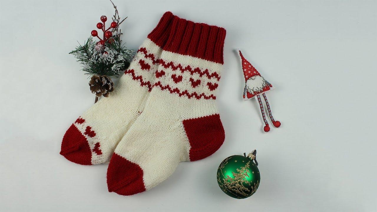 как связать носки спицами жаккард без протяжек Christmas Stocking