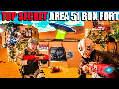 Area 51 Box Fort TOP SECRET! We Found Them ALIENS (Nerf War)
