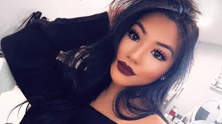 SIMPLE EYE DARK LIPS FALL MAKEUP TUTORIAL ♡ Annie Nguyen