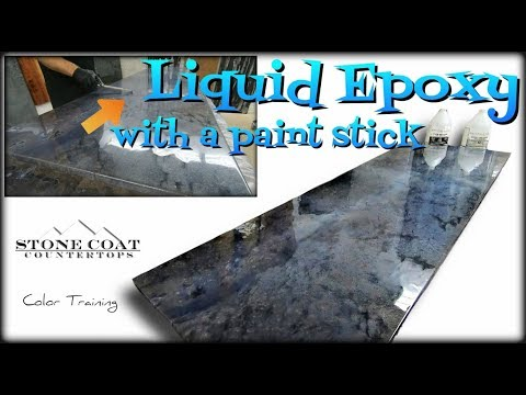 LIQUID EPOXY with a paint stick