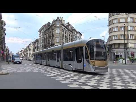 Brussels Tram T2000 3004 running along Avenue Princess Elisabeth