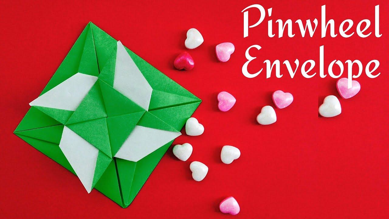 Origami bamboo letterfold folding instructions - Pinwheel Envelope Diy Handmade Tutorial By Paper Folds Youtube