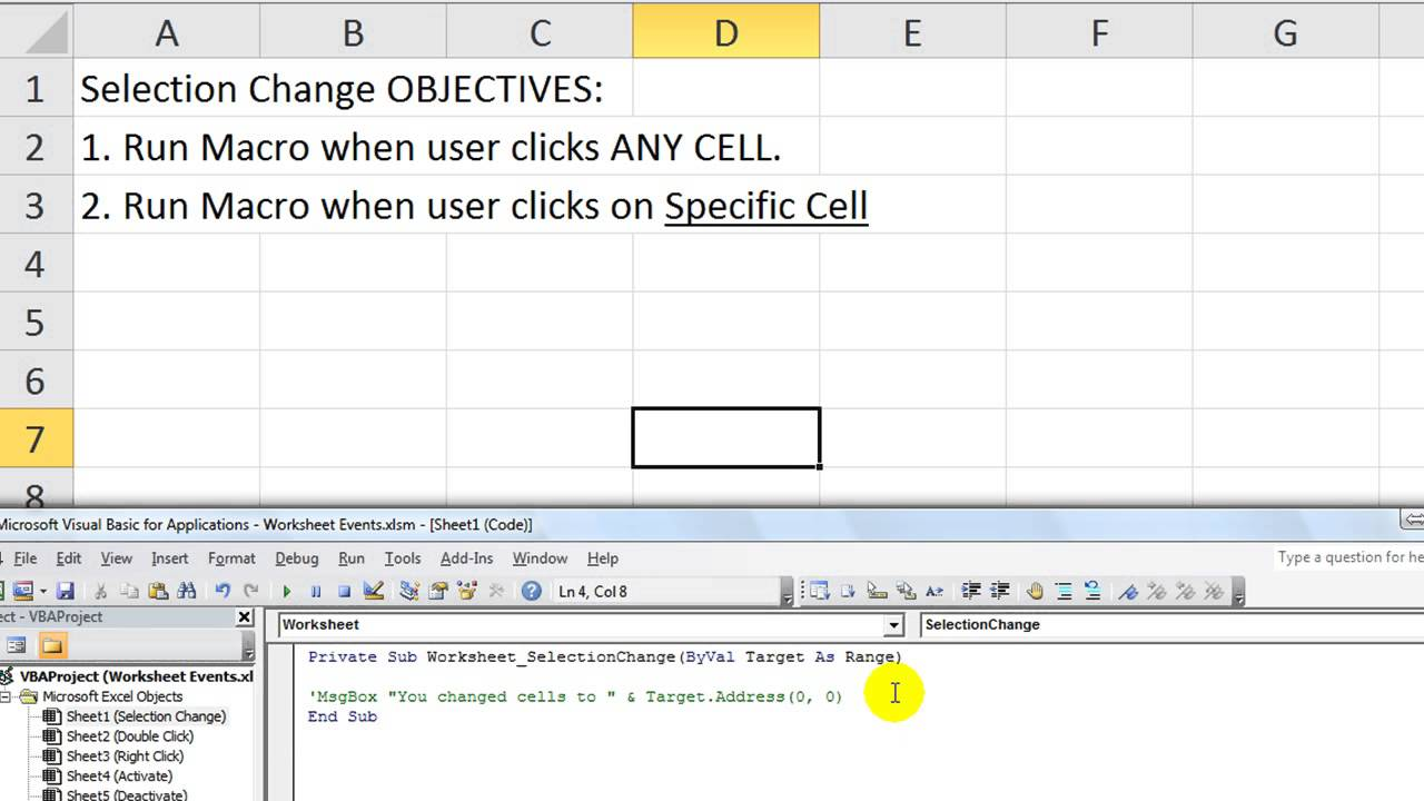 Excel Worksheet Events 1 Macro when you change cells OR select – Current Event Worksheet