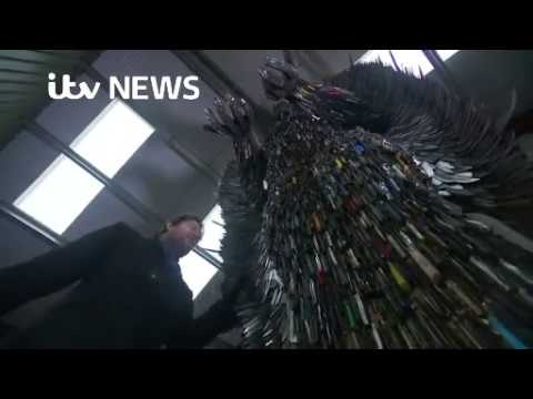 ITV News Film the Knife Angel at the British Ironwork Centre 9th February