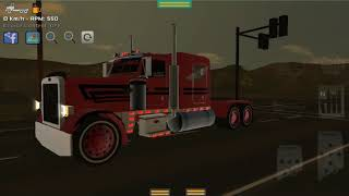 Grand truck simulator:peterbilt with red skin and whitewalls