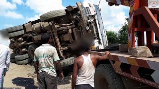 Tata Motors 2518 Hyva Accident Rescue By Jcb Dozer And Crane Machine.