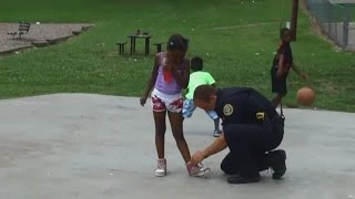 Clarksville Officers On Lunch Break Play Basketball With Kids