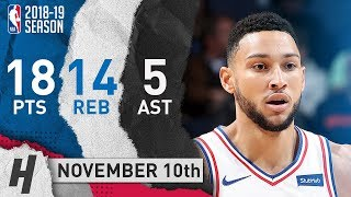 Ben Simmons Full Highlights 76ers vs Grizzlies 2018.11.10 - 18 Pts, 5 Ast, 14 Rebounds!