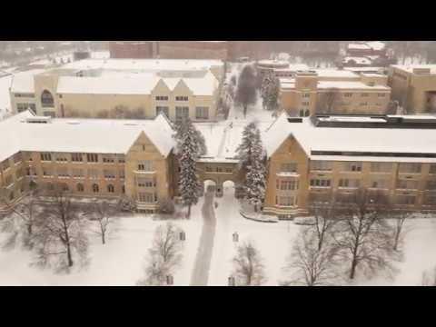 Snowy Campus Aerial Footage