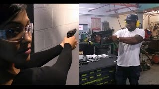 Hiphop millionaire 50 cent and girlfriend shooting guns