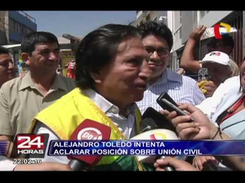 Alejandro Toledo intenta aclarar posición sobre la Unión Civil