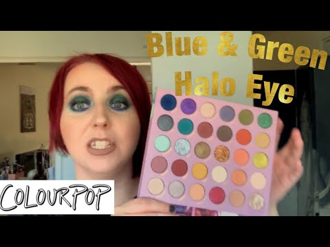 BLUE & GREEN HALO EYE | Colourpop So Jaded Kathleenlights Eyeshadow Palette thumbnail