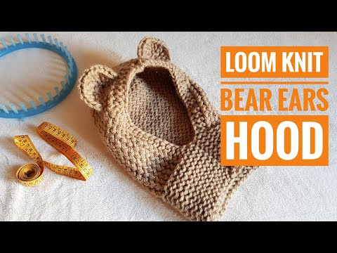 How To Loom Knit A Bear Ears Hooded Cowl V.2 (DIY Tutorial)