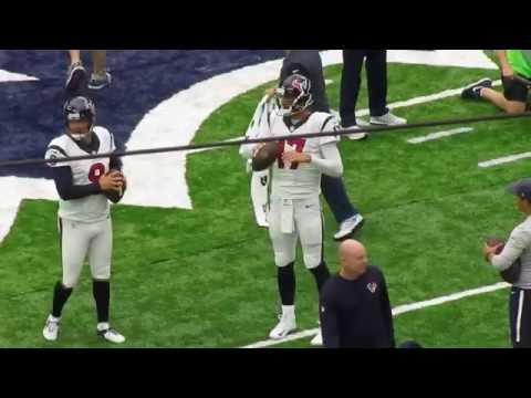 Brock Osweiler and Shane Lechler warming up the receivers