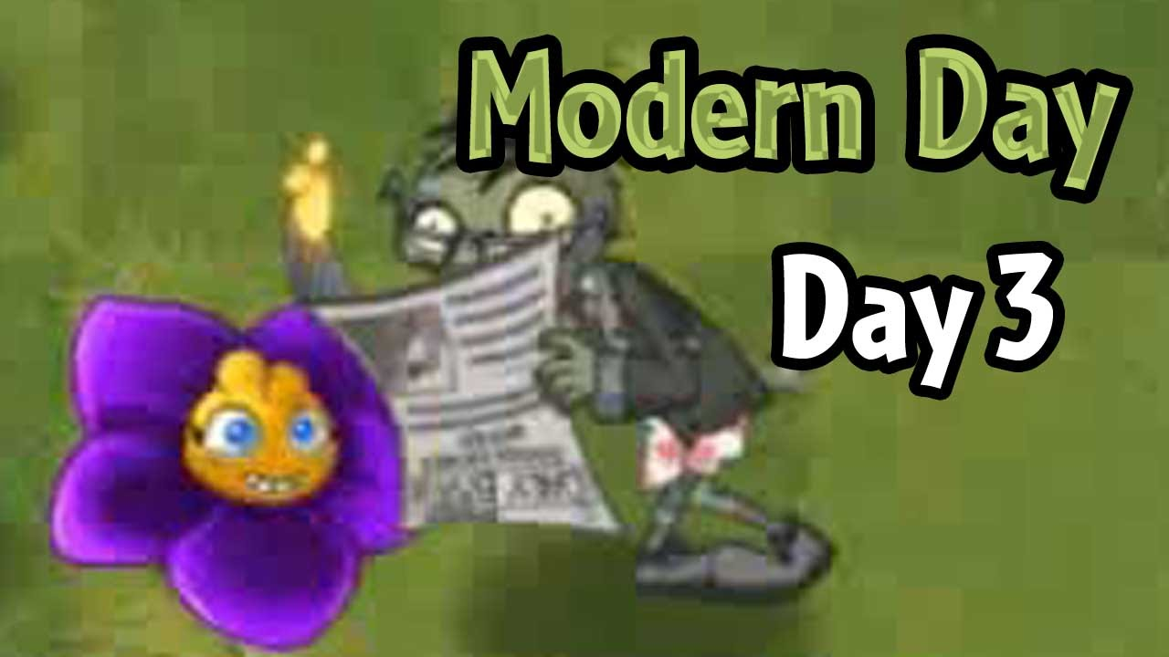 plants vs zombies 2 modern day day 3 shrinking violet and newspaper zombie youtube