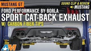 2018-2019 Mustang GT Ford Performance by Borla Sport CatBack w/ Carbon Fiber Tips SoundClip & Review