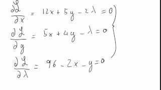 Constrained Optimisation - Lagrangean