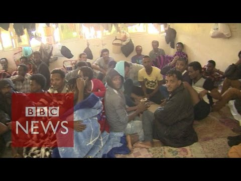 Inside Libya migrant detention centre - BBC News