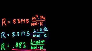 معادلة الغاز المثالي مثال 1