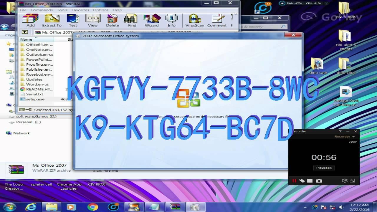 Microsoft office 2007 tutorial serial key permanent - YouTube