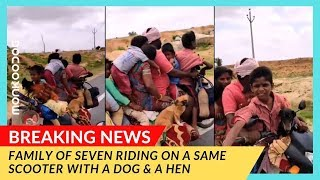 WOOF NEWS! Family of 7 riding with 2 dogs 🐶 and hen 🐓 on 1 motorcycle. || Dog news by Monkoodog