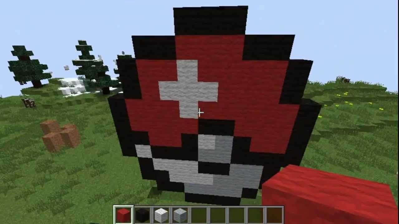 how to make a pokeball in minecraft pixel art
