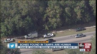 Police confirm bones found in Tampa by a homeless man are human