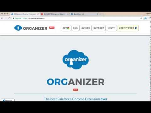 ORGanizer Chrome Extension Demo - Quicklinks @search and @help command