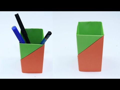 How to Make Pen Stand with Paper - Origami Pen Holder - Paper Pencil Holder