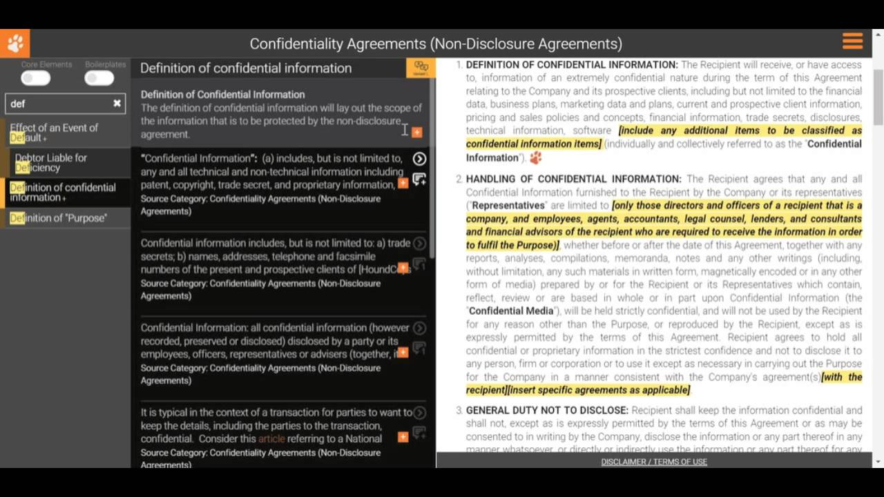 Drafting A Non Disclosure Agreement Definition Of Confidential