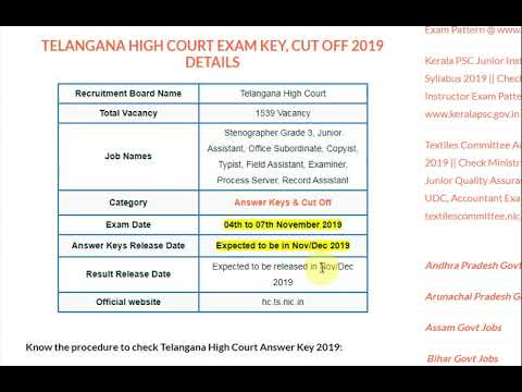 TS High Court Answer Key 2019