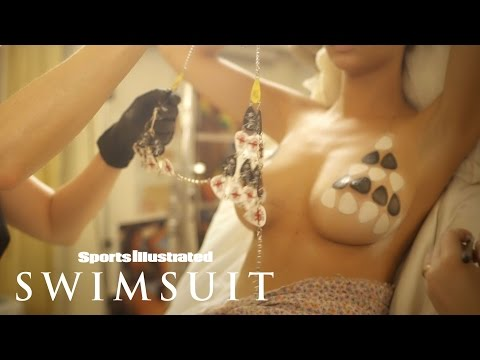 Emily Ratajkowski Wears Nothing But A Guitar Pick Bikini Body Painting | Sports Illustrated Swimsuit
