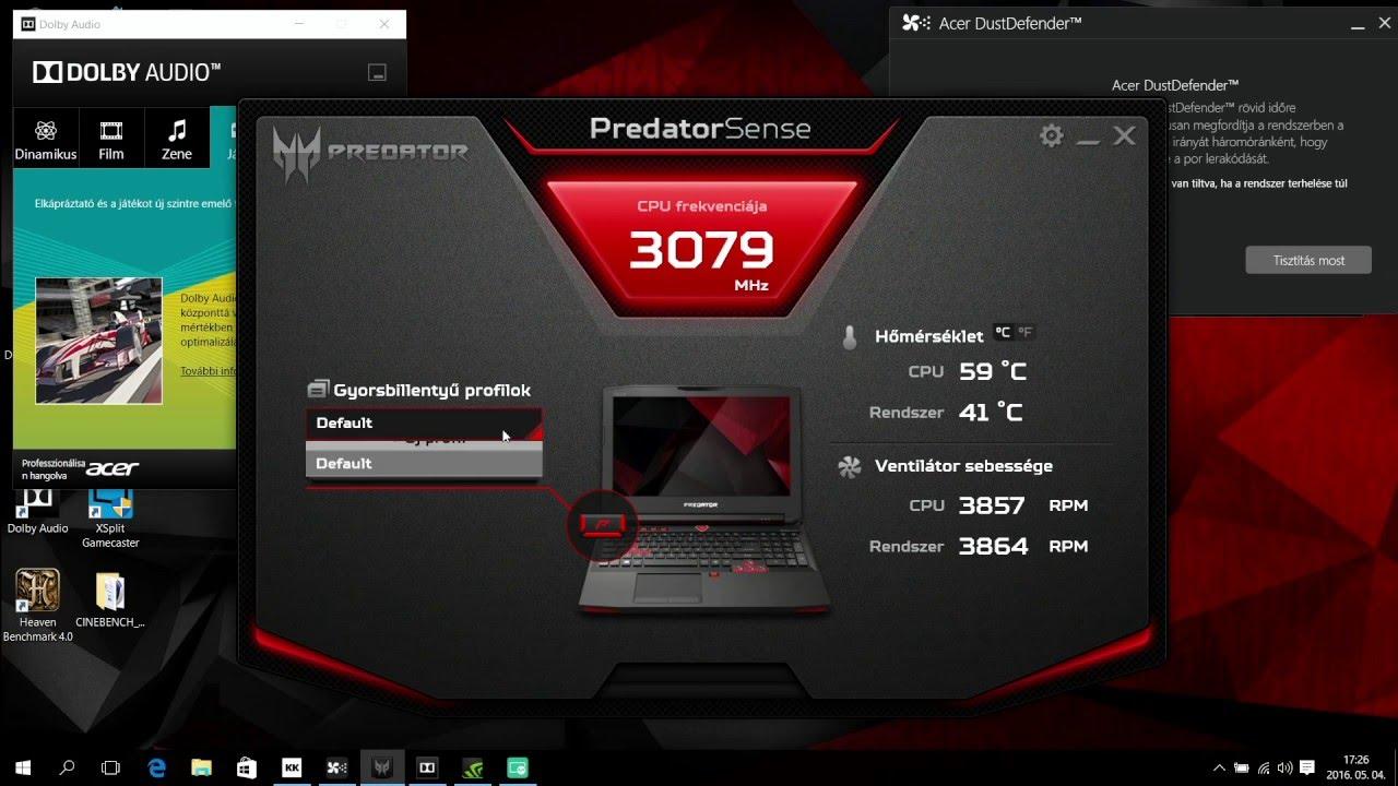 Acer Predator 15 - G9-591-75B0 - Care Center - Predator Sense -  DustDefender | ITFroccs hu